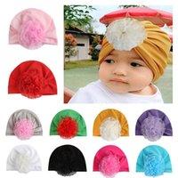 bebek dişi beanies toptan satış-Avrupa Bebek Bebek Kız Şapka Dantel Çiçek Şapkalar Çocuk Yürüyor Çocuk Beanies Türban Şapka Çocuk Aksesuarları