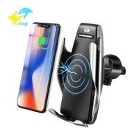 kablosuz şarj telefonları toptan satış-Otomatik Sensör Araba Kablosuz Şarj iphone Xs Max Xr X Samsung S10 S9 Akıllı Kızılötesi Hızlı Wirless Şarj Araç Telefonu Tutucu