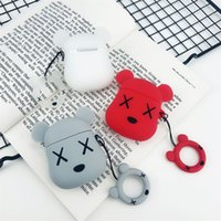 Wholesale cute earphones for sale - Group buy For Apple AirPods Cute Bear Silicone Case Protective Shockproof Charging Portable Earphone Cover Cases With Anti lost Ring