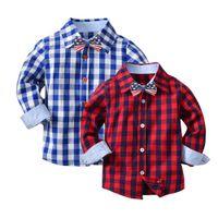 camisa de corbata para niños al por mayor-Baby Boys Girls Plaid Camisas de manga larga Caballero Tops Ropa empate Ropa de niños para niños