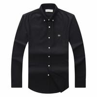 camisas inverno mens casual venda por atacado-2018 19 outono inverno mens Designer OXFORD camisa de Vestido dos homens de Manga Longa casuais camisas sociais de crocodilo moda EUA Marca CL polo camisa
