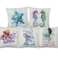 fall marine groihandel-Sea Horse Starfish Octopus Mermaid Turtle Cushion Cover Watercolor Marine Life Beige Linen Pillow Covers Decorative Sofa Chair Pillow Case