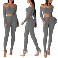 1bb197c0453d Women Two Piece Set Outfits High Elastic Crop Top Pants Sets Casual Fitness  Stretch Suits Women Black Night Club Wear Sets