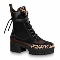 Wholesale kitten paintings resale online - Women Designer boot winter Platform Desert Boots Latest Leather ankle boot with belt chunky heel Martin shoes Lace up Boot Heel cm