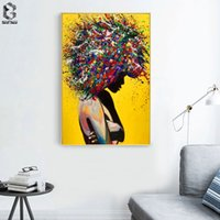 ölgemälde mädchen porträt großhandel-Moderne Mädchen Portrait Leinwand Printings Ölgemälde-Wand-Kunst-Plakat Bilder für Büro Wohnzimmer Home Decoration