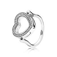 diy herzförmige kiste großhandel-NEUE 100% 925 Sterling SilverCharm Authentic Floating Box Herzform Ring Geeignet Fit DIY Frauen Original Schmuck Gif