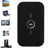 taşınabilir alıcı verici toptan satış-2 TV BA için 1 Bluetooth Verici Alıcı Kablosuz A2DP Bluetooth Ses Alıcı Adaptörü Taşınabilir Audio Player Aux 3,5 mm B6 olarak