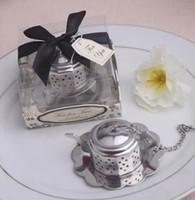 ingrosso regalo di infusione del tè-Teiera in acciaio inox a forma di tè infusore filtri colino sfera di tè strumenti di tè bicchieri per la festa regali di nozze