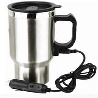 ingrosso riscaldatore elettrico 12v-Bollitore elettrico di viaggio della tazza di acqua dell'acciaio inossidabile della tazza di viaggio dell'automobile Caffè riscaldato riscaldatore di acqua calda riscaldato con il cavo dell'accenditore sigaro 12V