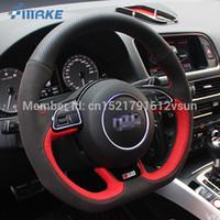 coberturas de volante de qualidade venda por atacado-Para Audi SQ5 Alta Qualidade Mão-costurado Anti-Slip Vermelho Preto De Couro Camurça Preta Rosca Vermelha DIY Tampa Da Roda de Direção