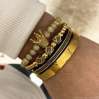 weinlesecharme groihandel-3pcs / set + römische Ziffer Armbänder Stahlpaar Armband Crown Charm for Love Vintage Armbänder für Frauen-Männer Luxuxschmucksachen Weihnachtsgeschenk