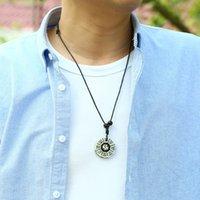 tai chi yin yang подвеска ожерелье оптовых-Китайская традиция Tai Chi ожерелье Pure Handmade RESIN Инь Ян Fish сплетен ожерелье Амулет Мужские украшения