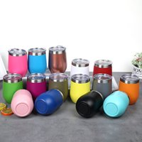 Wholesale double wall tumblers resale online - new Stemless Wine Glass Drinking cup Tumbler with Lid Stainless Steel Double Wall Vacuum Insulated Travel Cup oz KitchenwareT2I5512