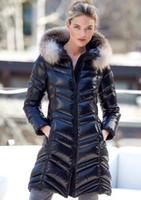 abrigo negro brillante al por mayor-2019 Shiny Black Down Abrigos largos Mujer FULMAR Chaqueta larga con capucha Con gran piel de invierno Abrigos de invierno