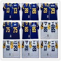 camiseta de fútbol 85 al por mayor-NCAA mejor calidad 29 Eric Dickerson 28 Marshall Faulk 13 Kurt Warner 75 Deacon Jones 85 Jack Youngblood jerseys del balompié de los hombres