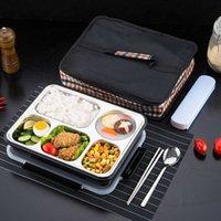 contenants à lunch séparés achat en gros de-Boîte à bento thermique Oneup Lunch Box avec vaisselle Vaisselle écologique Conteneur de nourriture Compartiments séparés La nourriture étanche ne se mélange pas Y19070303