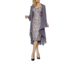 schatzmutterkleider großhandel-2019 Elegant Schatz Mantel Mütter Kleider Knielangen Spitze Mutter der Braut Bräutigam Kleider Mit Jacke Mütter Kleider