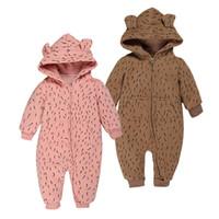 ropa de dormir de invierno recién nacido al por mayor-Bebé recién nacido de arrastre Leotardo Ropa espese el algodón batas del bebé mono de la ropa de noche de invierno de dibujos animados lindo de la muchacha del muchacho