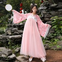 ropa de las mujeres chinas tradicionales al por mayor-Oriental Stage Performance Clothing Elegant Hanfu For Women Chinese Traditional Dance Costume Folk Dress