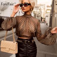 seksi kadın şeffaf bluz toptan satış-Forefair Dantel Polka Dot Kadınlar Bluz Siyah Turtleneck Uzun Kollu Kırpılmış Mesh Üst Streetwear Clubwear Şeffaf Seksi Mahsul Üst