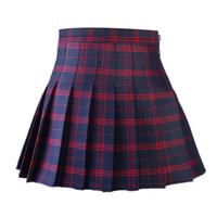 faldas a cuadros coreanos al por mayor-Estilo coreano de las mujeres falda plisada de verano de cintura alta dulces japoneses Plaid Mini falda School Girl Saia Colegial Jupe Plisse Femme T519053002