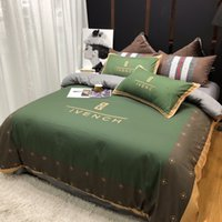 light orange tröster großhandel-MENGZIQIAN Light Luxury Bettwäsche Bettdecken Sets FashionDesigner King Size Bettwäsche Set 4-teilig Bettgarnituren Bettbezug Kissenbezug