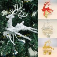 campana adornos para el árbol de navidad al por mayor-Inicio Árbol de Navidad Adorno Ciervos Chital Colgando Adornos de Navidad Decoración de Fiesta Ciervos Reno de Navidad con campana trompeta 2016