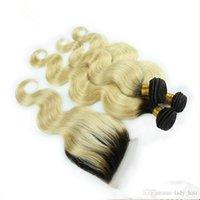 karanlık sarışın vücut dalga saç toptan satış-Perulu # 1B / 613 Sarışın Ombre Saç Ile 4x4 Dantel Kapatma Vücut Dalga Sarışın Koyu Kökleri Ile Ombre Saç Örgü Demetleri Kapatma 4 Adet / grup