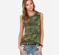 ingrosso sesso rotondo-2019 Estate abbigliamento donna europea e americana commercio Hot Sex New Camouflage girocollo Top gilet senza maniche