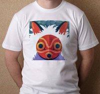 estudios rojos al por mayor-Studio Ghibli Princess Mononoke Máscara roja inspirada Nueva camiseta blanca de las camisetas Estilo redondo de S-3XL camiseta