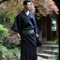 algodón yukata al por mayor-Tradicional Japón Kimono Yukata Hombre 95% Bata de algodón Vestidos de salón masculinos con cinturón Más tamaño Pijamas de verano establecidos A52801
