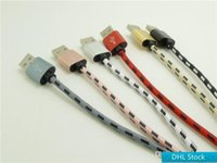 Wholesale 3m micro cable dhl online – Stock DHL M M M Micro V8 lattice data line USB lattice braided data line Metal head Tiger pattern braid Cable