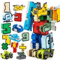 ingrosso lettere numeri di simboli-15 pezzi / set Numeri magici Trasformazione Lettere simbolo Assemblea Anime Deformazione Robot Action Figures Giocattoli educativi per bambini