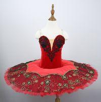 Adult Women Black Red Professional Ballet Tutu Costume Kitri Don Quixote Ballet Tutus Skirt Classical Ballerina Stage Costume