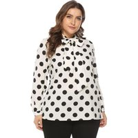 fetter bogen großhandel-2019 Frauen Blusen Frühling Europa und die Vereinigten Staaten heißen neuen Fett mm Fliege Kragen Hemd Ärmel zeigen große Größe Damenhemd