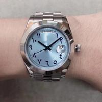 correas de reloj azul al por mayor-Calidad superior U1 Automático 1646 Día del Movimiento Fecha Hielo Azul Dial Hombres Reloj Jubliee Banda Inoxidable Envío Gratis