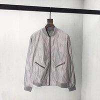 etiket malzemeleri toptan satış-2019 erkek tasarımcı ceket lüks yansıtıcı malzeme Bombacı Metal fermuar giysi Standı Yaka uzun kollu Erkek Kadın gerçek etiket etiketi Yeni