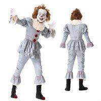 4t halloween kostüme großhandel-2019 neue ankunft scary halloween cosplay stephen king's es männer mantel hose kragen anzüge scary maskerade clown