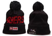 gorras de béisbol de invierno al por mayor-Lo nuevo de los hombres de color Negro SF 49ER Gorros de béisbol del casquillo del Snapback todo el equipo de invierno caliente Pom Skullies gorrita tejida con puño de punto Caps Un tamaño