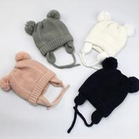 bebek kulak kulaklıkları toptan satış-Yeni Sonbahar Kış Bebek Çocuk Şapka Kasketleri Çocuk Ayı Kulakları Peluş Şapka Erkek Kız Bebekler Earmuffs Şapkalar Sıcak Şapkalar M198