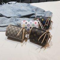 kızlar tasarımcı cüzdanları toptan satış-Çocuklar Çanta Baskı Tasarımcısı Mini Çanta Omuz Çantaları Bebek Genç Çocuk Kız PU Messenger Altın Zincir Çanta Noel Hediyesi