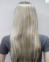 longo luz marrom perucas venda por atacado-WIG Light Brown Loira Mix Long mulheres Diariamente 3/4 meia peruca com headband