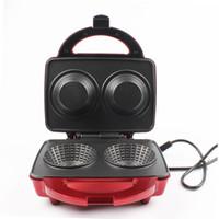 máquina de cono de waffle al por mayor-DMWD Máquina de waffles de calentamiento de doble cara Máquina de waffles DIY Máquina de cono de helado Máquina de crepes para desayuno 220V 650W