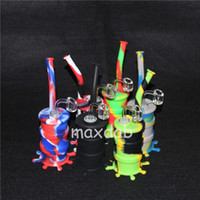 Wholesale oil rig glass bucket resale online - Newest silicone bongs glass bong with Honey bucket silicone Dab Rigs oil rig water pipes colorful smoking bubbler pipes