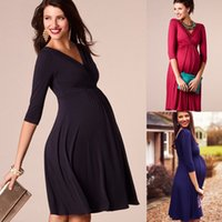 Wholesale sexy plus size maternity clothes resale online - Maternity Clothes Spring Summer Pregnant Women Dress Casual Sexy V Neck Sleeve Solid A line Dresses Vestidos Plus Size