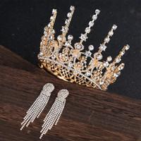 novia cabello bling al por mayor-Bling Bling con cuentas de cristal corona tocado novia matrimonio corona de lujo reina corona damas boda accesorio para el cabello princesa tocados