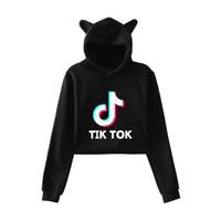 camisetas de harajuku al por mayor-Kawaii Harajuku Ropa Kpop BTS Tik Tok Software Tendencia de moda Sala Cat Crop Top Sudaderas con capucha Jerseys Mujeres Sudaderas Streetwear