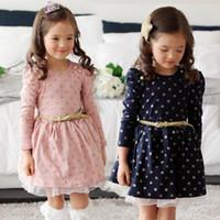 Wholesale girls dresses online - Children birthday gift dress girls dot skirt kids clothes girls autumn cotton long sleeve lace dresses baby boutiques