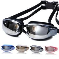 tomadas de óculos venda por atacado-Grande Quadro Chapeamento À Prova D 'Água Anti-Fog UV Óculos de Natação Visão Panorâmica Clara Soquetes de Silicone Flexível Confortável Fit