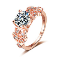 jóia de moda de casamento de ouro rosa venda por atacado-CUTEECO Moda Rose Gold Brilhante Anéis Folha Flor De Zircão Anéis De Casamento Para As Mulheres De Cristal Anel De Noivado Jóias